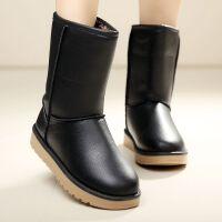 秋冬季皮面雪地靴女防水防滑短筒保暖加绒加厚短靴子韩版学生棉鞋