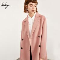 【开学季到手价:749元】 Lily春新款女装全羊毛双排扣系带双面呢外套