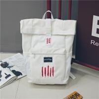 港风潮牌书包双肩包女韩版防水大容量中学生书包男旅行背包电脑包 白色 【pu卡包】