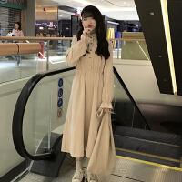 配大衣的长裙子法式复古裙2018新款韩版收腰打底连衣裙女秋冬长裙