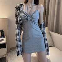 港味格子长袖衬衫纯色抽绳吊带连衣裙2019夏季时尚套装女装两件套 均码