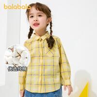 【3件4折价:60】巴拉巴拉童装儿童衬衫洋气女童衬衣长袖春季小童宝宝格纹
