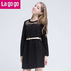 lagogo拉谷谷冬装纱网镂空拼接长袖针织纯色连衣裙