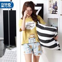 黛梦思清新睡衣女夏纯棉短袖可爱卡通姜黄色利发国际lifa88服女夏可外穿套装4175