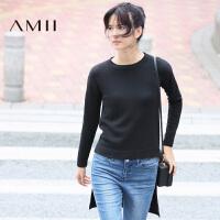 【到手价:103元】Amii极简时尚圆领落肩袖前短后长套头毛衣女士2019春季新款针织衫