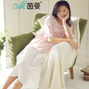 包邮 茵曼内衣 新品 睡衣女宽松中袖格子条纹圆领家居服套装9871482013