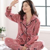 睡衣女冬珊瑚绒加厚保暖韩版长袖可爱开衫法兰绒家居服套装可外穿 豆沙色小铅笔 是M