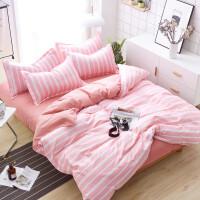 网红款四件套纯棉1.8m床上用品被套被子棉1.5米床单人三件套 深蓝月 SF简单生活