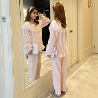 2018新款冬季珊瑚绒睡衣女冬公主风长袖加厚法兰绒甜美可爱韩版家居服套装 YS-68050 主图款