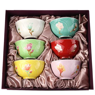 乾唐轩活瓷春暖花开饭碗 六入彩绘6色款 创意陶瓷米饭碗汤碗套高档礼盒包装 送人己用两相宜