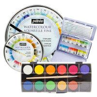 法国贝碧欧初学者手绘便携铁盒装固体水彩颜料12色24色水彩画颜料