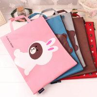 学生女士可爱帆布试卷收纳袋带提手韩版小熊熊卡通A4文件袋