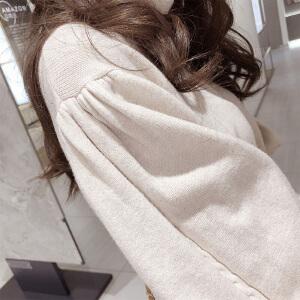 谜秀高领毛衣女2017冬装新款韩版宽松复古灯笼袖短款针织打底衫