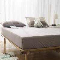 水洗棉纯色双人床笠单件 简约纯棉床单素色全棉单人保护床罩单品 180*200 25cm床笠