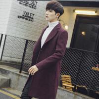 秋冬新款韩版显瘦单排扣中长款毛呢外套毛呢大衣男大码男士风衣