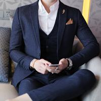秋冬西服套装条纹男士韩版平驳领致韩风秋季青年三件套修身