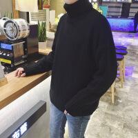 秋季修身高领毛衣男士加厚个性长袖针织衫韩版情侣纯色线衣潮男装 黑色 M