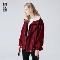 初语秋季新款呢子大衣 抽绳宽松定型毛呢外套女