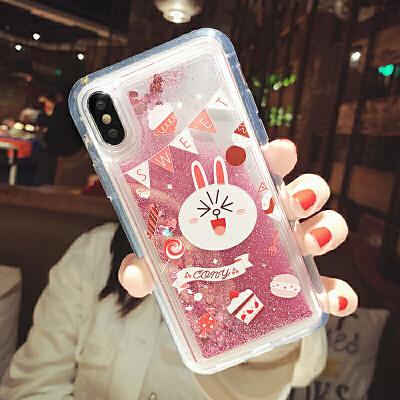 可爱卡通手机壳苹果xs max闪粉流沙8plus女款7/6s硅胶xr潮 i6/6s 流沙 棒棒糖可妮兔