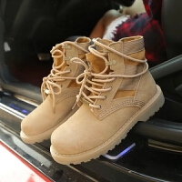 战狼同款靴春秋季马丁靴女沙漠靴英伦风2019新款欧美高帮百搭短靴 卡其色