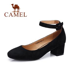 camel骆驼女鞋  春季新款 欧美复古圆头脚环扣带方跟羊皮单鞋