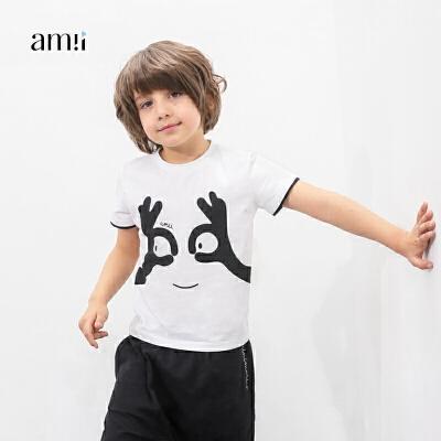 AMII童装2017秋夏新男童印花T恤中大童儿童搞怪图案短袖休闲T恤.