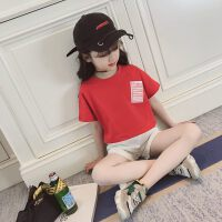 童装女童休闲套装夏装2018新款儿童短袖T恤时尚中大童短裤两件套 红色