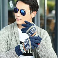 针织毛线男士手套秋冬季保暖双层加绒毛线分指手套