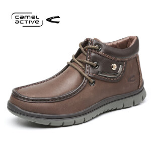 Camel Active/骆驼动感冬款男鞋正品头层高帮靴中老年牛皮爸爸鞋