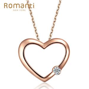 罗曼蒂珠宝18K玫瑰金心形钻石吊坠女新款简约浪漫款单钻石挂坠需定制