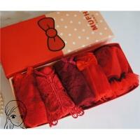 少女蕾丝结婚礼盒装红女士三角棉 本命年红色低腰内裤 女 均码样式以详情页为准 均码5条