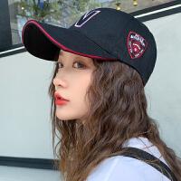 帽子女春夏潮鸭舌帽百搭黑色字母时尚防晒夏季休闲棒球帽街头