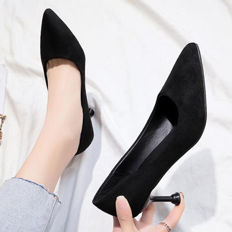 33-43大码单鞋女高跟鞋细跟女鞋子女学生韩版春秋黑色职业工作鞋
