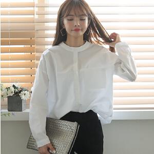 卡茗语春装新款韩版学生立领白色衬衫女职业长袖宽松百搭衬衣学院风