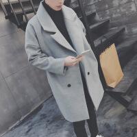 20181209113219279男士风衣冬季韩版宽松中长款披风外套毛呢子大衣男潮流帅气青少年