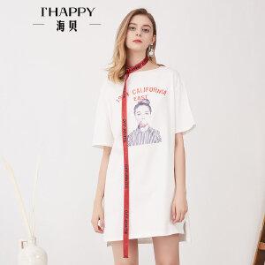 海贝夏季新款女装 时尚圆领印花撞色织带收腰短袖T恤连衣裙