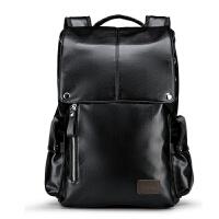 欧洲站真皮双肩包男时尚牛皮韩版男士背包青年书包休闲旅行电脑包 黑色