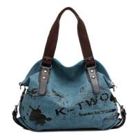 简约涂鸭女士帆布包手提包单肩包斜挎包大包女包休闲包包