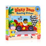 赛车小 Bizzy Bear Racing Driver 小熊很忙系列英文原版绘本 纸板机关操作书 儿童英语启蒙 边玩