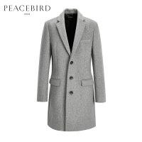 【开学季1件2.5折,到手价:319元】太平鸟男装羊毛大衣 男士毛呢大衣潮灰色毛呢外套长款呢子大衣