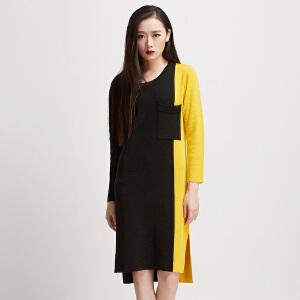 秋季撞色针织连衣裙2017新款修身中长款长袖不对称侧开叉针织裙冬