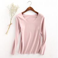 无痕打底衫女秋冬新款德绒加绒加厚长袖t恤薄绒发热纤维保暖上衣 肤粉色 M