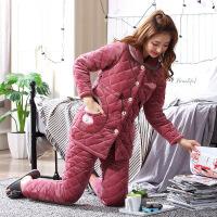 睡衣女冬季珊瑚绒加厚款可爱保暖三层夹棉秋冬天女装法兰绒家居服 16806 是XL