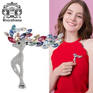 皇家莎莎欧美时尚夸张个性创意小鹿胸针女韩版装饰别针胸花送女友