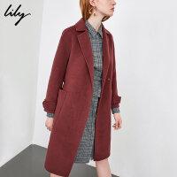 【25折到手价:379.75元】 Lily春秋新款女装系带收腰口袋双面呢外套毛呢大衣118359F1E23