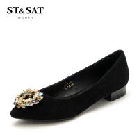 星期六(ST&SAT)专柜同款绒面羊皮革花瓣水钻平跟单鞋SS73111159