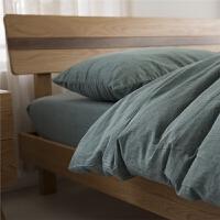 床品 1.8素色全棉水洗棉床笠四件套 家纺 无印日式 2.0m床单款(被套220x240cm 床单24