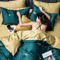 天冰丝四件套丝绸床单裸睡水洗被套欧式丝滑床上三件套