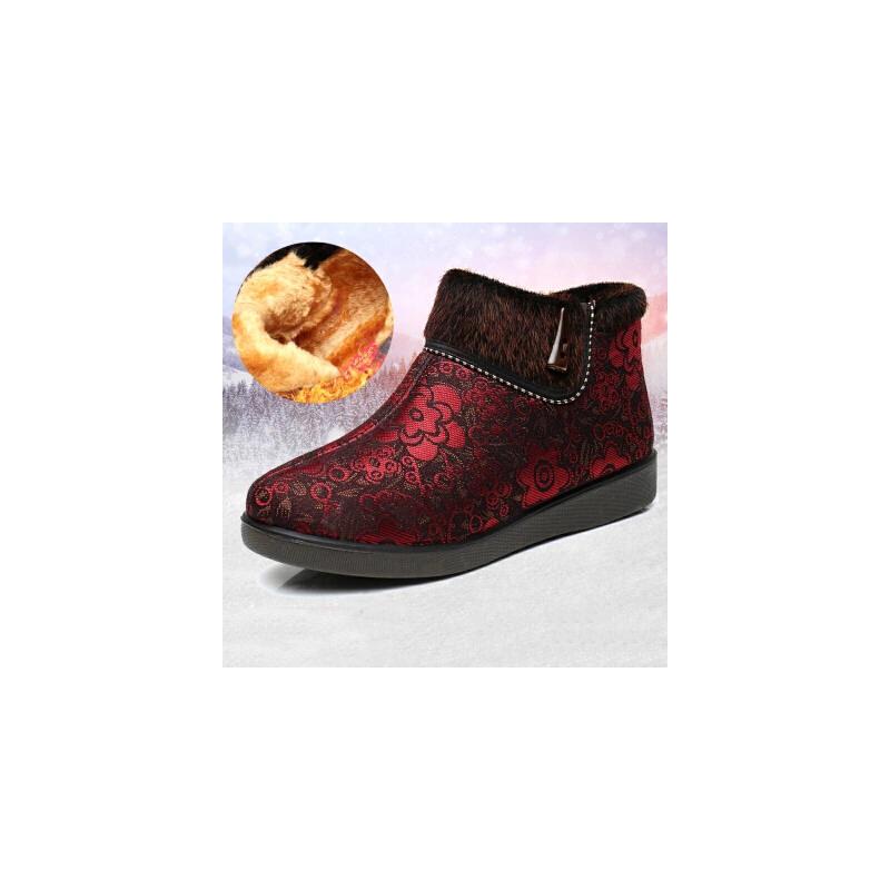 老北京布鞋女棉鞋冬中老年加绒保暖奶奶鞋软底防滑老人大码女鞋妈妈鞋