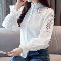 衬衣女灯笼长袖木耳边立领蕾丝拼接镂空秋装宽松纯棉打底衫白衬衫 白色